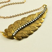 Image of Brass Leaf Necklace with Frosted Vintage Rhinestones