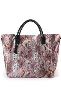 Image of 'Chocolate Drive' Brown Python Printed Shopper / Shoulder Bag