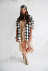 Image of Black and white oversized flanel checked shirt