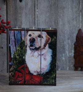 Image of Home For the Holidays Tealight Triptych, yellow lab
