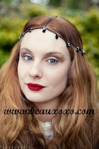 Image of Chain Head Piece Chain Headdress Goddess Triple Stranded Gothic Black Swarovski Heart Crystal