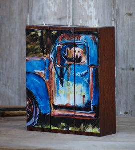 Image of Farmhand Tealight Triptych, vintage truck and lab