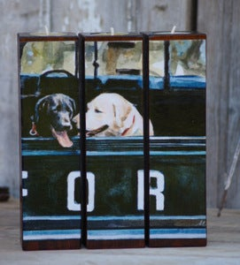 Image of For the Retrievers Tealight Triptych Ford truck and labs, Fred &amp; Woody
