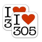 "Image of 3.5"" - I ♥ 305 Stickers with Rounded Corners - (2 Pieces)"