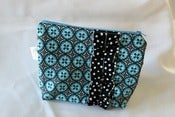 Image of Zipper Pouch {Teal & Black Dot}