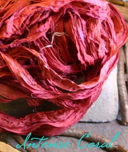 Image of Intense Coral Recycled Sari Silk Ribbon