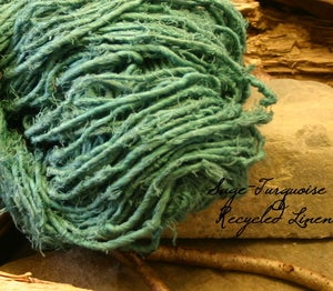Image of Aqua Recycled Linen Yarn