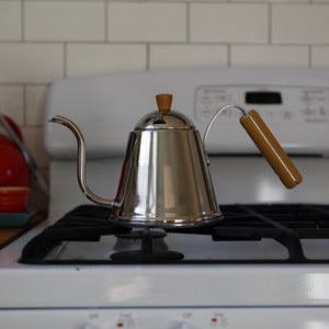 Image of Wood-handled Stainless Kettle