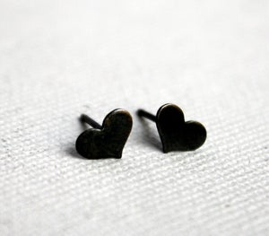 Image of Tiny Black Silver Heart Studs