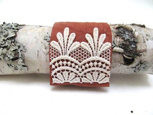 Image of Vintage Lace and Leather Wedding Lingerie Cuff Bracelet Made in USA