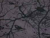 Image of winter nest YARDAGE black on charcoal