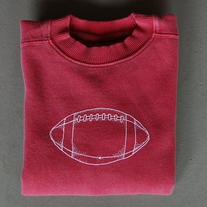 Image of Football Crewneck Sweatshirt in Crimson