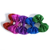 Image of Medium Glitter Hair Bow - Jewel Tones