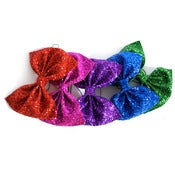 Image of Huge Glitter Hair Bow - Jewel Tones
