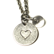 Image of birthstone heart necklace - silver