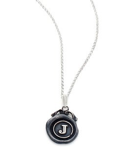 Image of Mini Personalised Oxidised Wax Seal Necklace (A-Z)