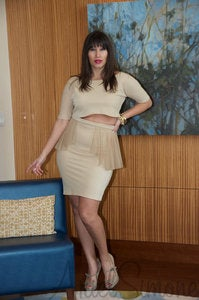 Image of Peplum Skirt with Sheer Accents and Tapered Midriff Top