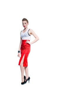 Image of Highwaisted Pencil Skirt with High Slit