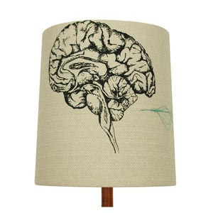 Image of Anatomy Lamp Shade - Brain, with Green Embroidery