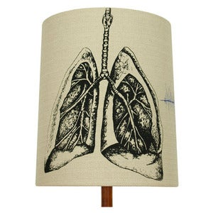 Image of Anatomy Lamp Shade - Lungs No. 2, with Blue Embroidery
