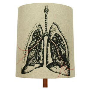 Image of Anatomy Lamp Shade - Lungs No. 2, with Red Embroidery
