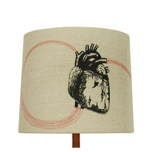 Image of Anatomy Lamp Shade - Heart, with Red Embroidery SOLD