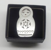 Image of Babushka Russian Doll Brooch - Sterling Silver