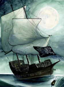 Image of Pirate Ship (original watercolour artwork)