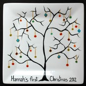 Image of Personalized Family Name Christmas Tree Ornament Plate