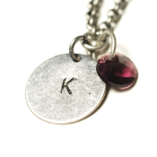 Image of february initial necklace - silver