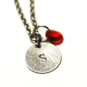 Image of july initial necklace - silver