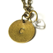 Image of april initial necklace - antiqued brass