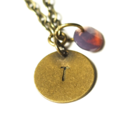 Image of june initial necklace - antiqued brass