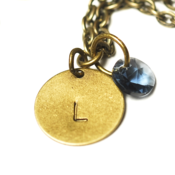 Image of september initial necklace - antiqued brass