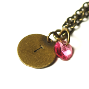 Image of october initial necklace - antiqued brass