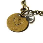 Image of birthstone heart necklace - antiqued brass