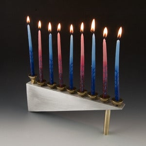 Image of Modern Geometric Pewter Menorah
