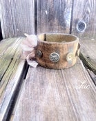 Image of Vintage Leather Cuff Bracelet with Eclectic Antique Buttons