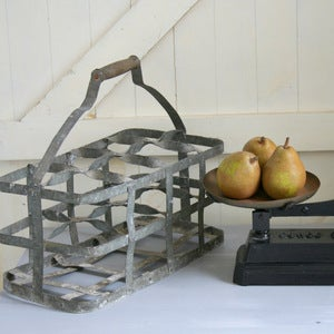 Image of Zinc Vintage French Bottle Carrier