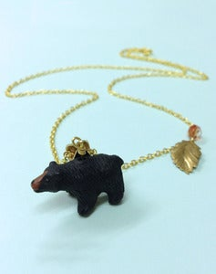 Image of Catching A Show Black Bear Necklace