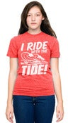 "Image of ""I Ride With The Tide"" Heather Red T-Shirt"