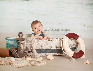 Image of Vintage Style Weathered Wood Boat - Newborn to Toddler Prop - NEW
