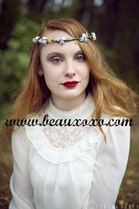 Image of White, Green and Lilac Floral and Green Ivy Leaf Trim Festival Flower Hair Crown Hair Garland