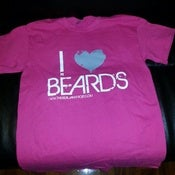 "Image of PINK ""I LOVE BEARDS"" T SHIRT  WHITE PRINT W/GREY HEART"