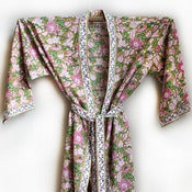 Image of Anokhi Floral Cotton Robe Mint and Pink
