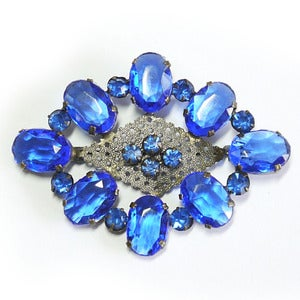 Image of Vintage Czech Bristol Blue Glass Faceted Ornate Pin Brooch
