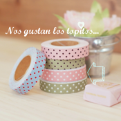 "Image of Fabric tape "" dots azul y rojo """