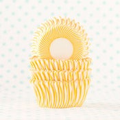 Image of Yellow Pin Stripe Mini Cupcake Liner