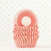 Image of Red Pin Stripe Mini Cupcake Liner