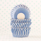 Image of Blue Pin Stripe Mini Cupcake Liners
